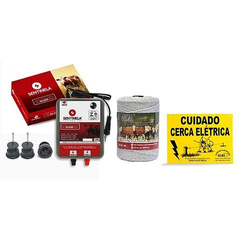 Kit Cerca Elétrica Rural Eletrificador Sentinela + Fio 250m + Isolador