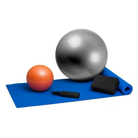 Kit Pilates - Bola Suíça Cinza 65cm + Tapete + Overball e Bloco