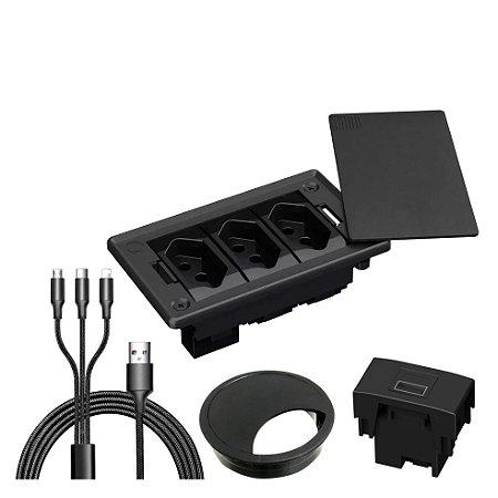 Caixa Elétrica 3 Blocos para Mesa com Tomadas + Acessórios USB