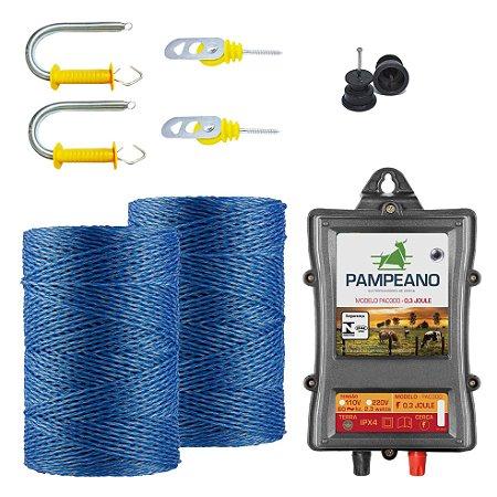 Eletrificador PA0300 + Fio Trançado 500m + Isoladores + Engate para Porteira Pampeano