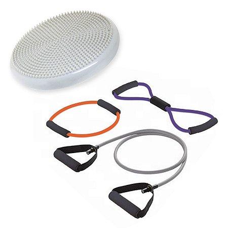 Kit 3 Extensores Elásticos + Disco Inflável para Exercícios