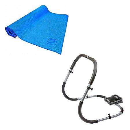 Aparelho Abdominal + Tapete De Yoga EVA - Simples - 173x61x0.4cm - Azul LiveUp