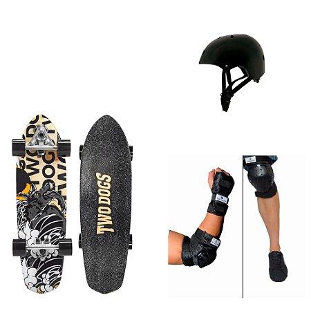 Simulador de Surf Dog Storm + Kit Proteção Bob Burnquist + Capacete Pro Preto Mor