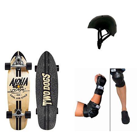 Simulador de Surf Aloha + Kit Proteção Bob Burnquist + Capacete Pro Preto Mor