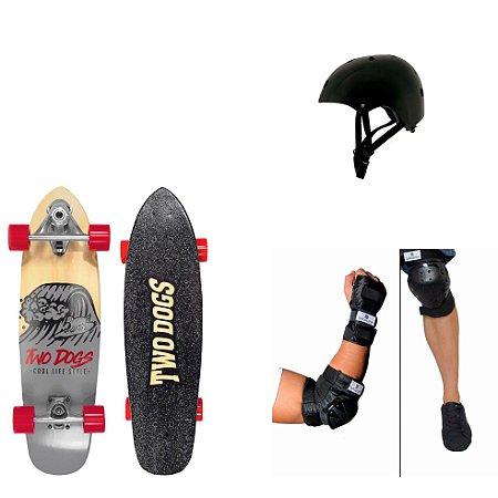 Simulador de Surf Dog + Kit Proteção Bob Burnquist + Capacete Pro Preto Mor