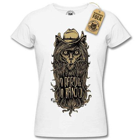 """Camiseta """"O BARDO E O BANJO"""" Fem. Branca"""