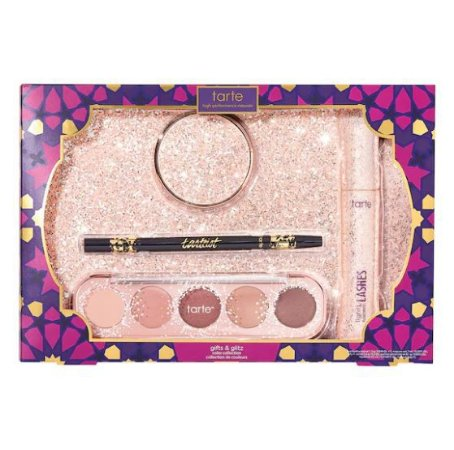 TARTE COSMETICS gift & glitz color collection Amazonian clay 12-hour blush (shade B-day Bae) + dual-ended eyeliner + lights, camera, lashes 4-in-1 vegan mascara + cue the confetti