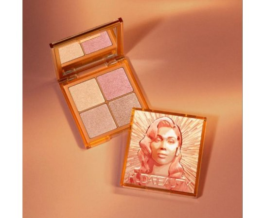 HUDA BEAUTY Mini Glow Obsessions Highlighter Face Palette Medium - for medium to tanned skin tones