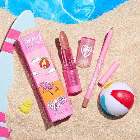 Colourpop malibu barbie golden beach lux lipstick kit batom + lápis labial
