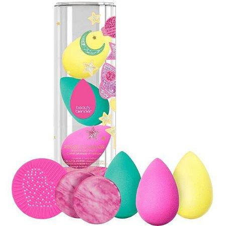 beautyblender Rocket To Flawless Blend & Cleanse Sponge Set (3 esponjas + 2 sabonetes + suporte de silicone)