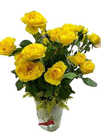 Vaso de vidro com Mine Rosas Amarelas