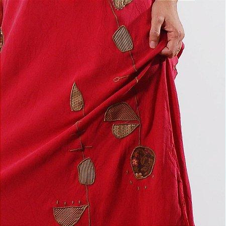 Vestido Plus Size de Tencel Bordado Pitaya