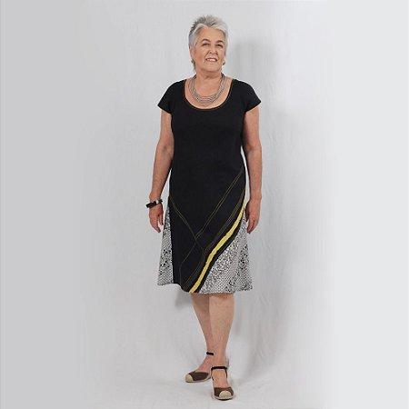 Vestido Plus Size de Linho Amarelo e Preto
