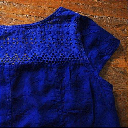 Conjunto Plus Size de Tencel Lesis Azul Mônaco
