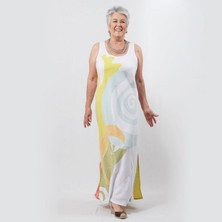 Vestido Plus Size de Tencel Estamparia Artesanal