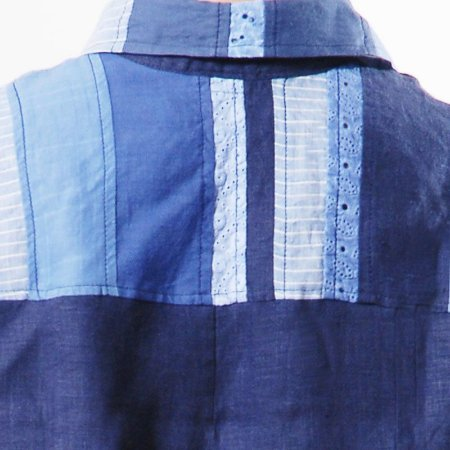Conjunto Plus Size de Linho Patchwork Azul