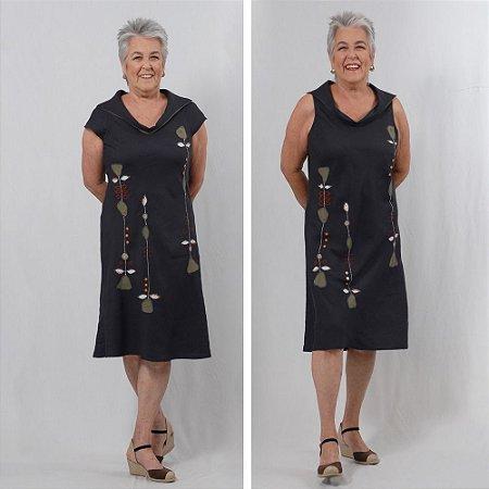 Vestido Plus Size de Linho Azul Petróleo