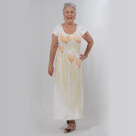 Vestido Plus Size de Linho Branco Estampado a Mão Aquarela Floral Laranja