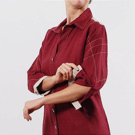Vestido Plus Size Chemise de Linho Vinho Pala Natural