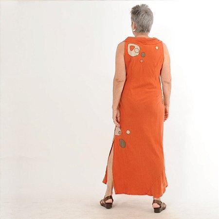 Vestido Plus Size de Tencel Bordado Com Gola Telha