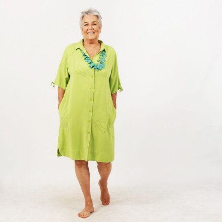 Vestido Plus Size de Tencel Chemise Verde