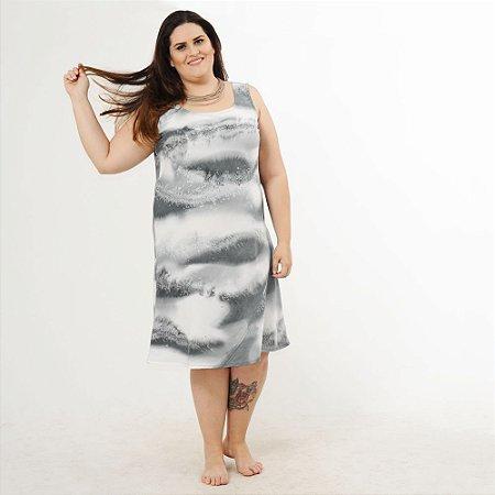 Vestido Plus Size de Tencel Estampado à Mão Acqua Azul Midi