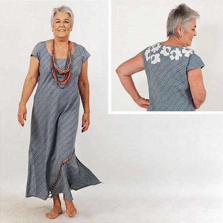Vestido Plus Size de Linho Listradinho Azul