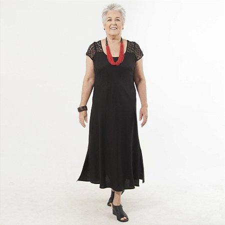 Vestido Plus Size de Linho Pala Renda Guipir Preto