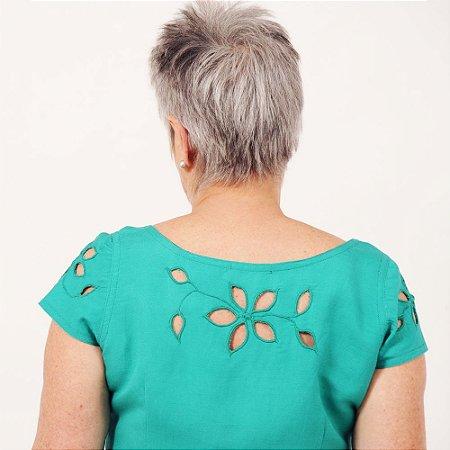 Blusa Plus Size de Linho Jade Rechilieu