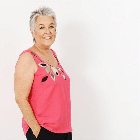Regata Plus Size de Linho Pink Bordada