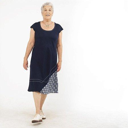 Vestido Midi Plus Size de Linho Marinho Azulejo