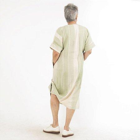 Vestido Plus Size de Linho Tubo Aquarela Menta