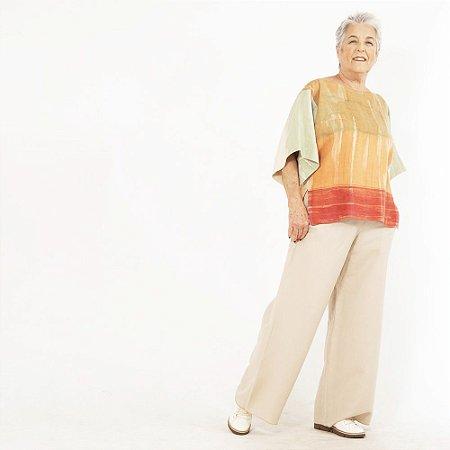 """Blusa Plus Size de Linho """"T"""" Aquarela"""