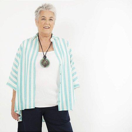 Blusa Mullet Plus Size de Linho Biarritz Turquesa