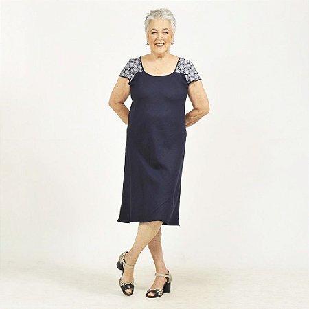 Vestido Midi Plus Size de Linho Marinho Pala Azulejo