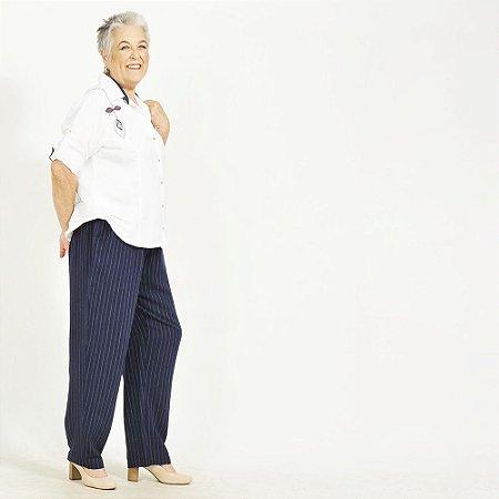 Conjunto Plus Size de Linho Branco/Marinho Bordado Pala