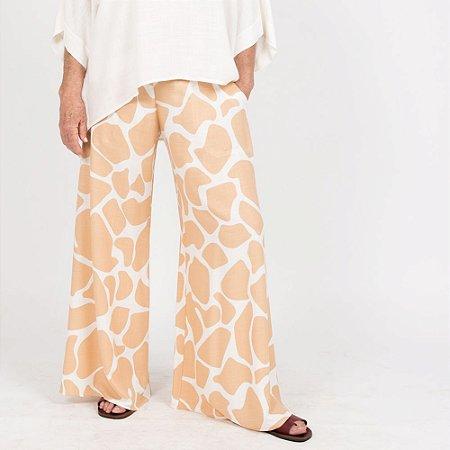 Calça Pantalona Flare Plus Size Viscolinho Girafa Areia