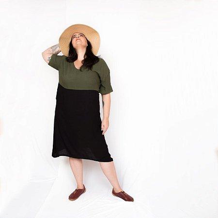 Vestido Amplo Bicolor Verde|Preto