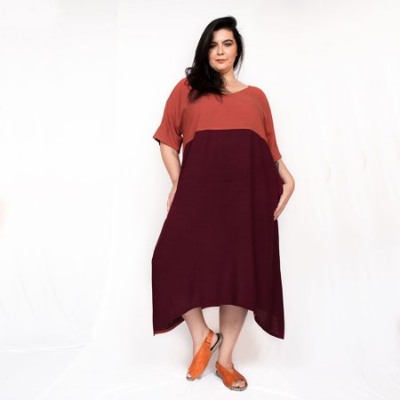 Vestido Amplo Bicolor Laranja|Vinho