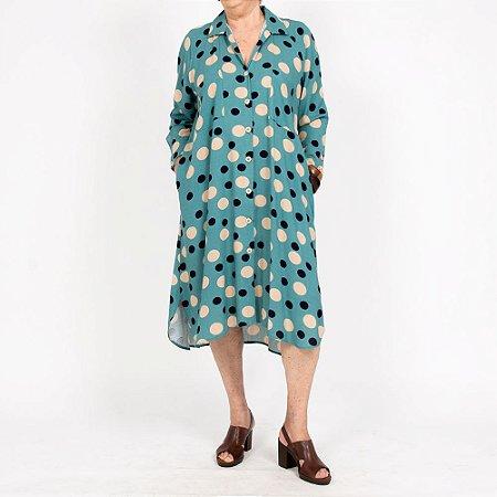 Vestido Chemise Amplo Poá Azul