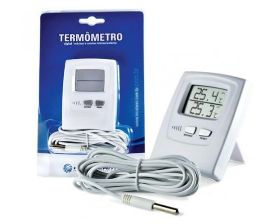 TERMOMETRO DE MAXIMA E MINIMA DIGITAL TEMP INT -20+70ºC EXT -50+70ºC COM CABO 2,3MT