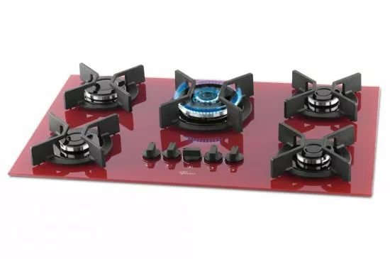 Fogão Cooktop Fischer 5Q TC Infinity Gás Mesa Vidro - Vermelho Rouge - 26298-62471