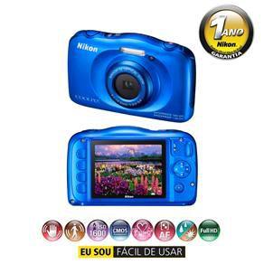 "Câmera Digital Nikon Coolpix S33 Azul – 13.2MP, LCD 2,7"", Zoom Óptico 3x, À Prova D'água, Choque e Congelamento e Vídeo Full HD"