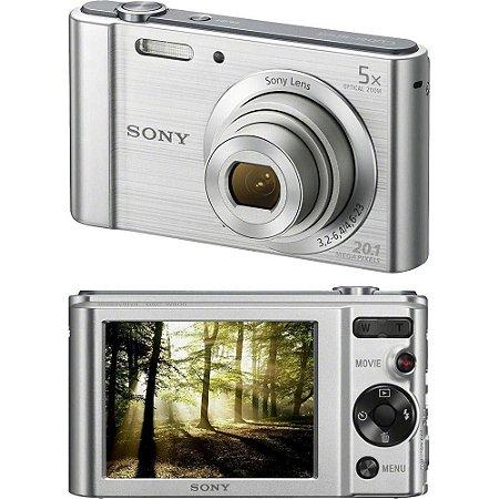 Câmera Digital Sony W800 20.1mp 5x Zoom Foto Panorâmica - Prata