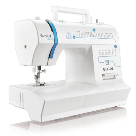 Máquina de Costura Elgin JX-4035 Genius Plus Branca/Azul - 31 Pontos