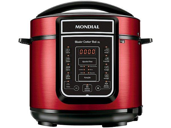 Panela de Pressão Elétrica Mondial Master Cooker Vermelha 5L PE-39