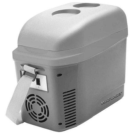 Mini Cooler Multilaser 7L com Porta Copos 12V Cinza Fosco com Alça - TV013