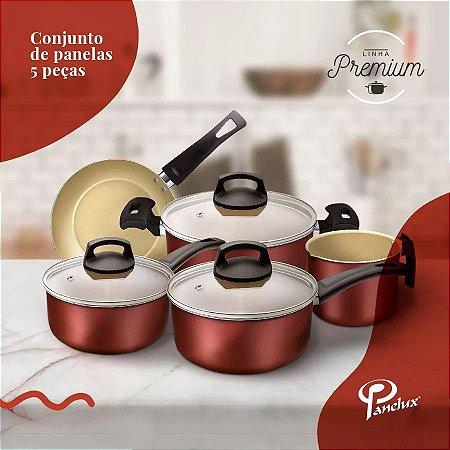 Conjunto de Panelas 5 Peças Cereja Premium - Panelux