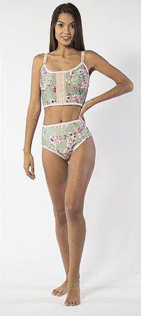 Conjunto Corpete com Calcinha Modeladora Linfodraening Floral