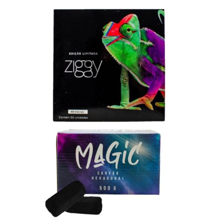 KIT CARVÃO MAGIC 500G + PAPEL ALUMINIO ZIGGY 50 FOLHAS